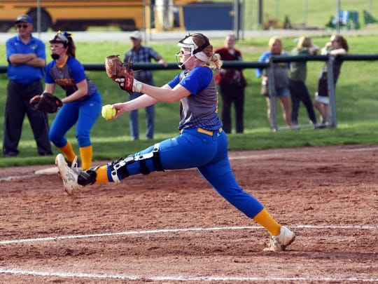 Darian Tupuola winds up for a pitch during Philo's 10-0 win against visiting Maysville on Thursday.