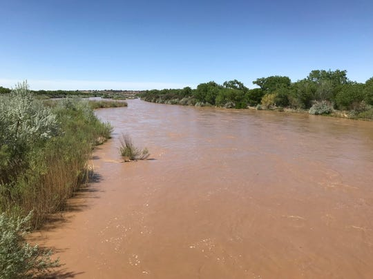 The Rio Grande river in Albuquerque, N.M., on Thursday, May 2, 2019. On Thursday, a raft overturned in the Rio Grande near the Texas border. A 10-month-old baby was found dead and three others, including two children, were missing.