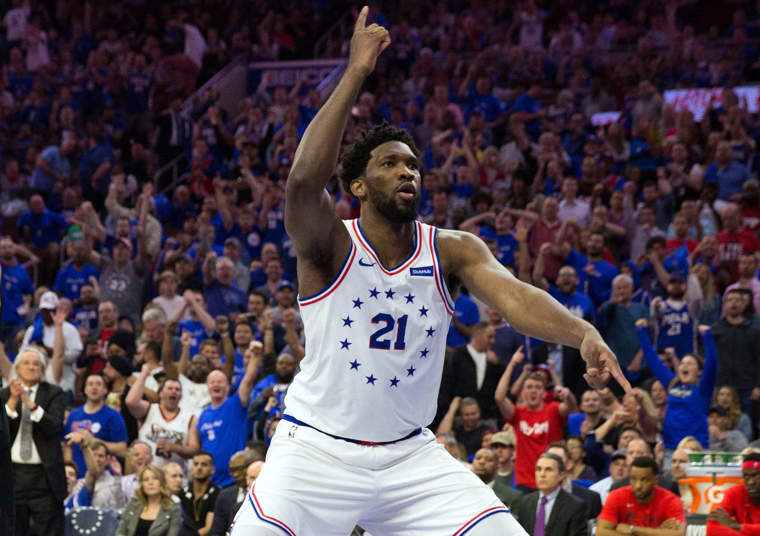 May 2: Sixers center Joel Embiid celebrates a big bucket during Game 3 against the Raptors in Philadelphia.