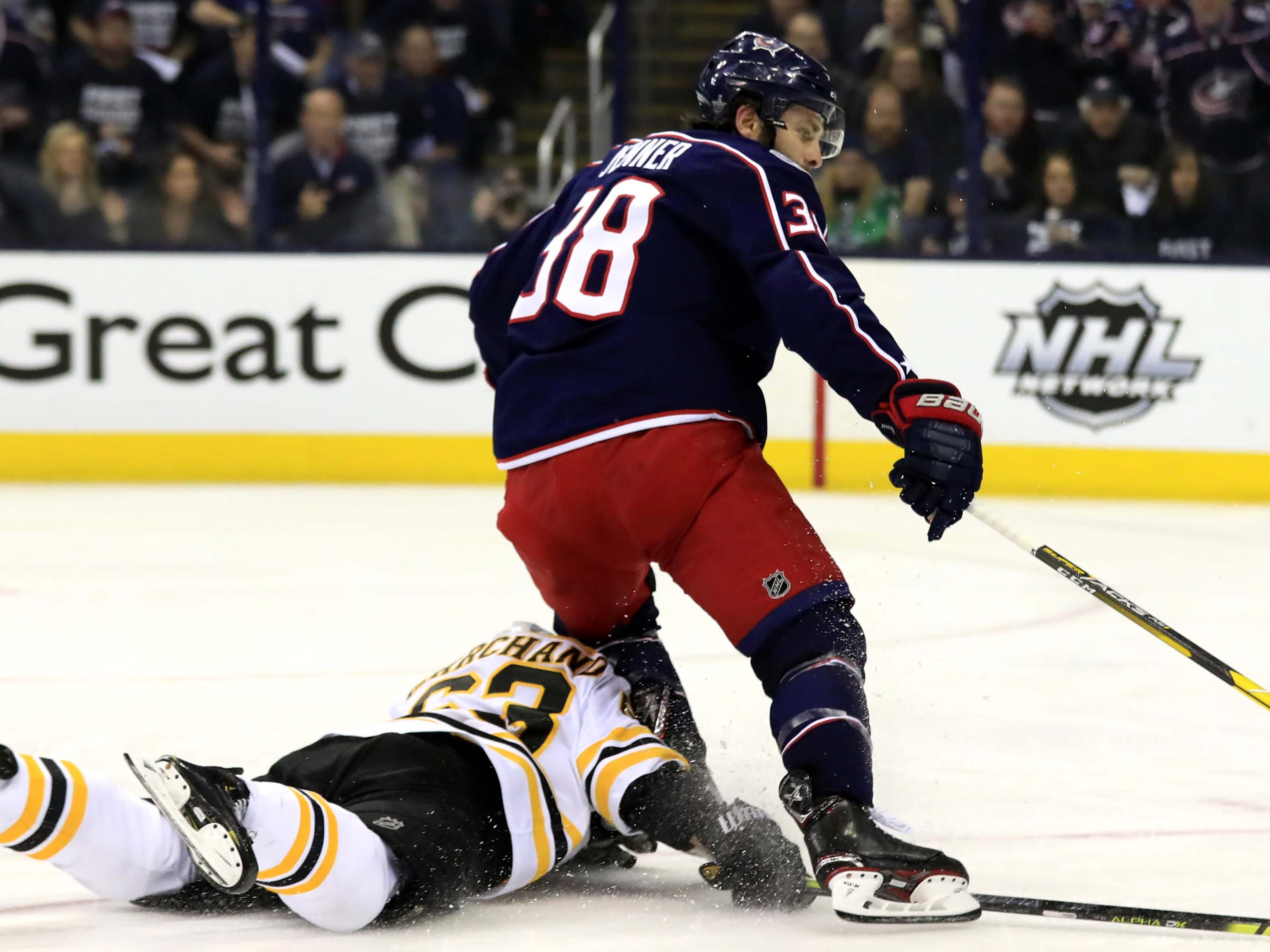 Second round: Boston's Brad Marchand  trips up Blue Jackets center Boone Jenner, leading to a Game 4 penalty shot. Tuukka Rask stopped Jenner.