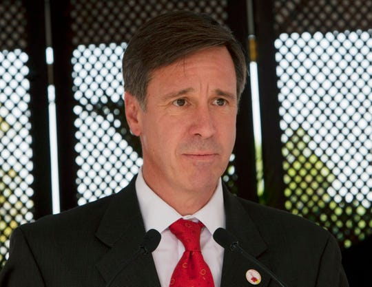 In this Dec. 19, 2012, file photo, Marriott CEO Arne Sorenson speaks during a groundbreaking ceremony for a Marriott hotel in Port-au-Prince, Haiti.