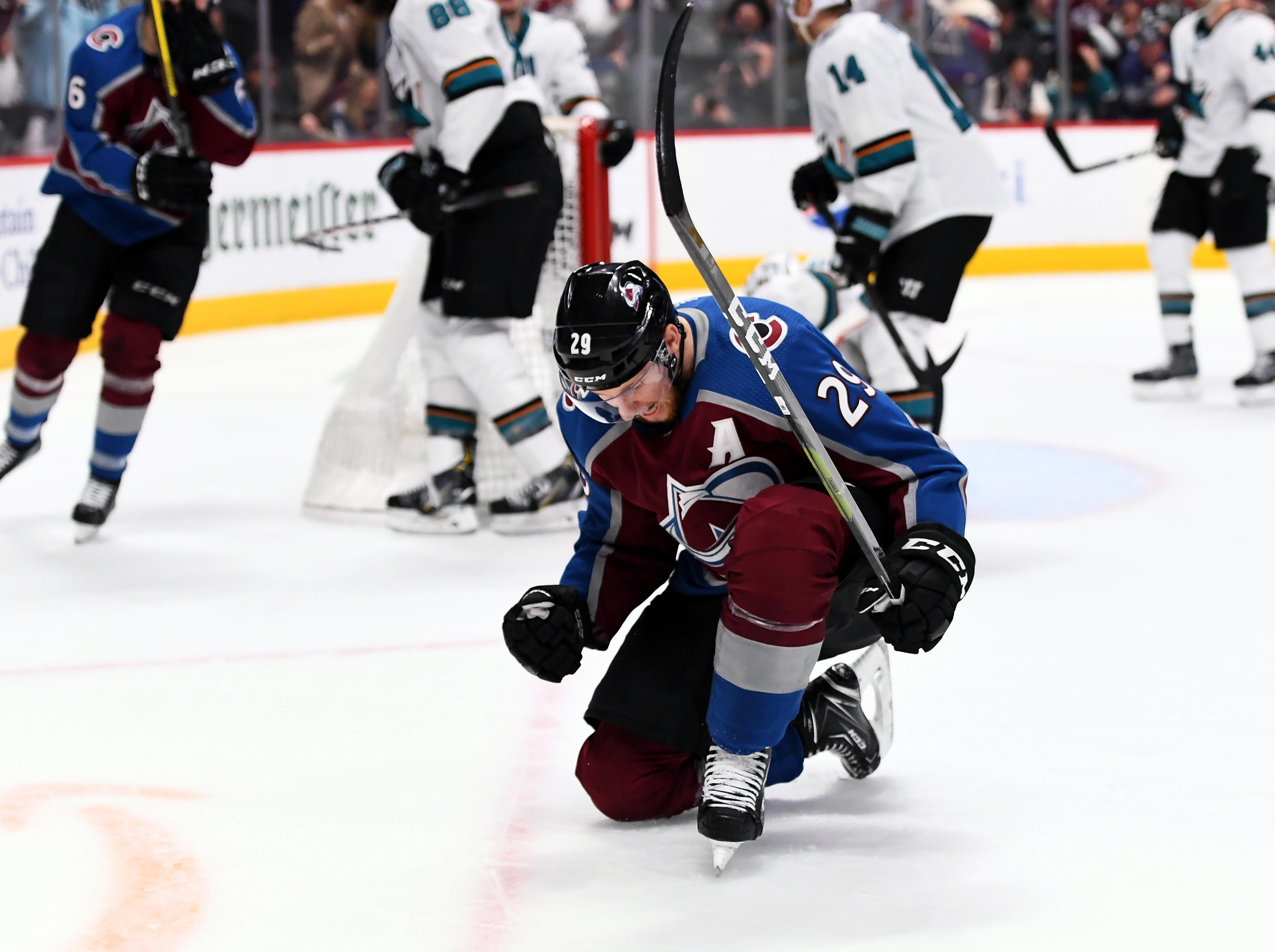 Second round: Colorado Avalanche center Nathan MacKinnon celebrates his goal in the second period in Game 4 against the San Jose Sharks.