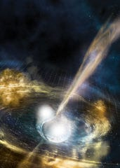 An artist's conception of two merging neutron stars.