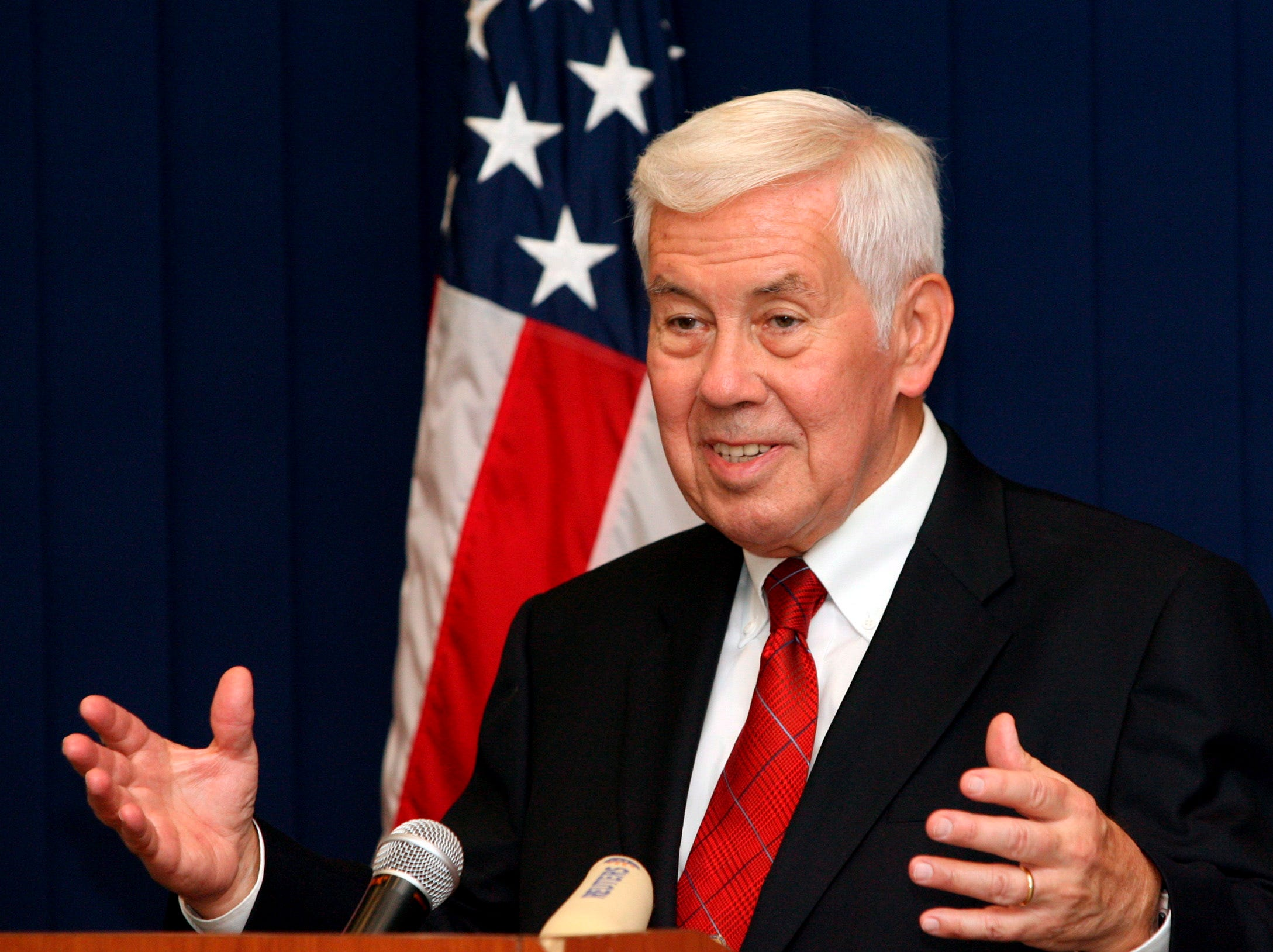 Senator Richard Lugar speaks during his press conference in Tbilisi, Ga. on August 24, 2008. Former Indiana Sen. Richard Lugar, a Republican foreign policy sage known for leading efforts to help the former Soviet states dismantle and secure much of their nuclear arsenal, died Sunday, April 28, 2019 at the Inova Fairfax Heart and Vascular Institute in Virginia. He was 87.