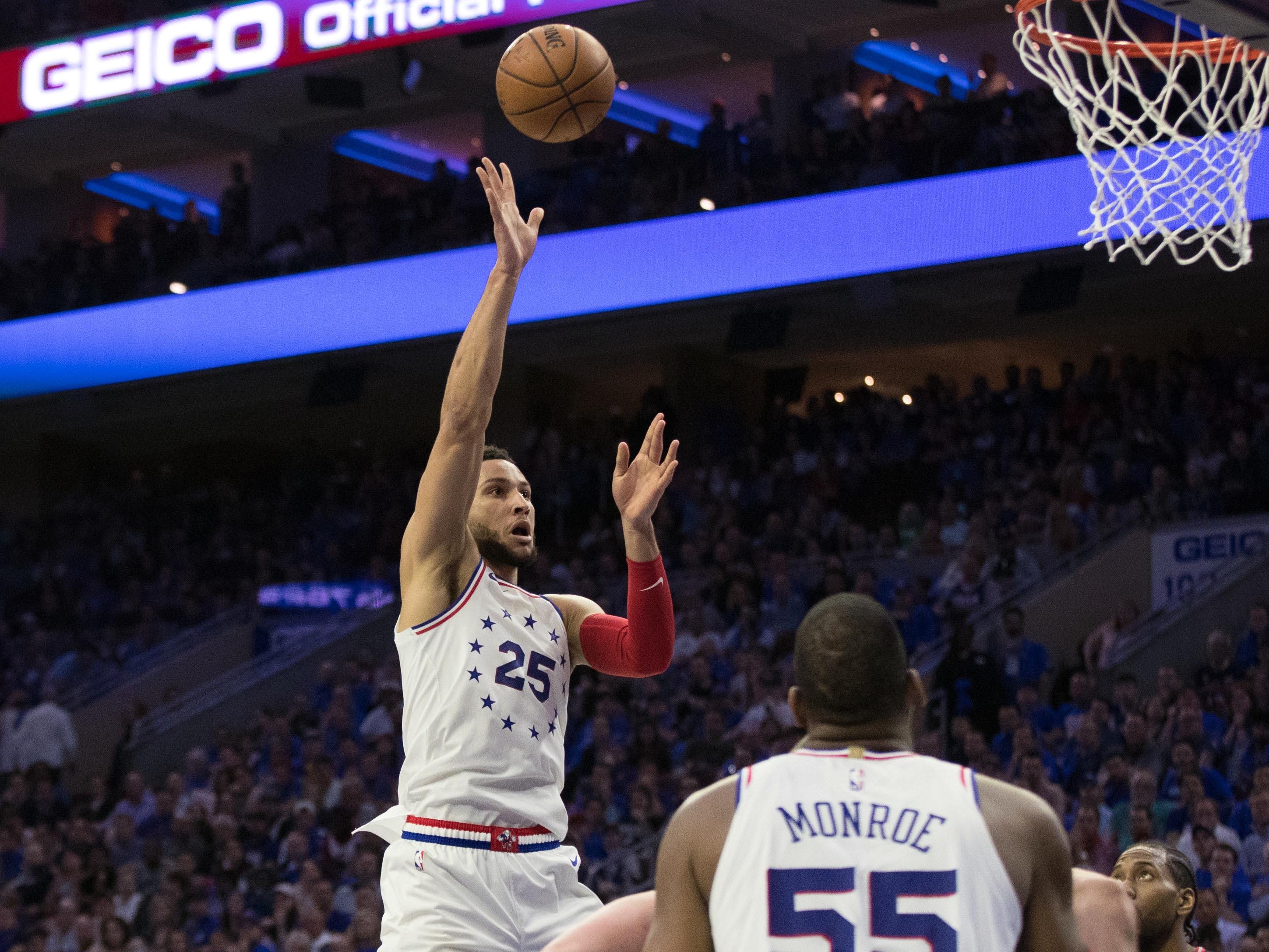 May 2: Sixers guard Ben Simmons (25) drives and shoots during Game 3 against the Raptors.