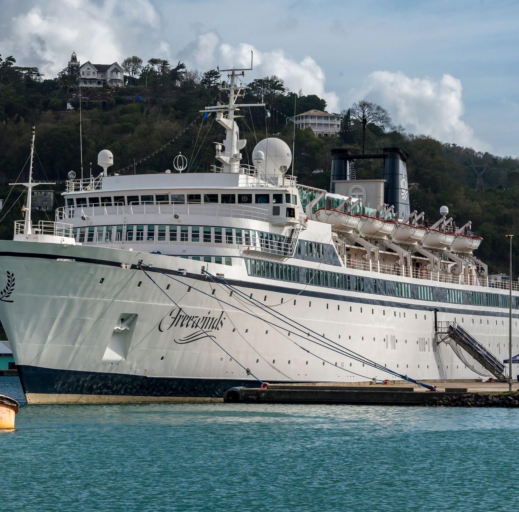 The Freewinds cruise ship owned by the Church of Scientology is seen docked in quarantine at the Point Seraphine terminal in Castries, Saint Lucia, on May 2, 2019, after a measles case was detected onboard.