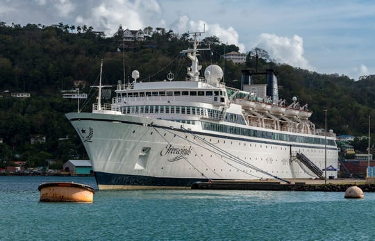 The Freewinds cruise ship owned by the Church of Scientology is seen docked in quarantine at the Point Seraphine terminal in Castries, Saint Lucia, May 2, after a measles case was confirmed onboard.
