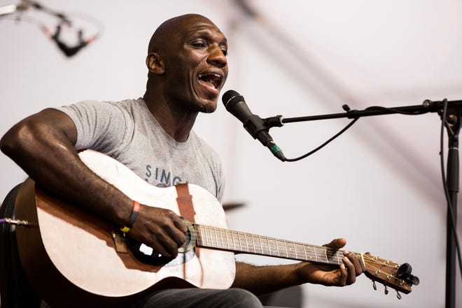 Cedric Burnside performs in the Blues Tent during the New Orleans Jazz & Heritage Festival. He will be performing at the Ohiolina festival in Granville this weekend.