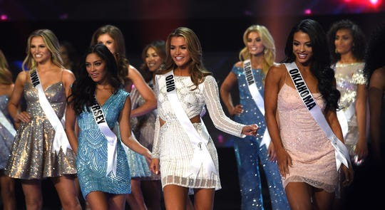 Miss USA 2019 contestants compete during the final competition in the Grand Sierra Resort in Reno, Nev. on May 2, 2019.