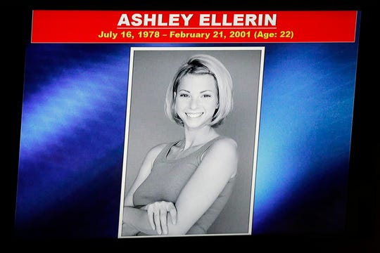 A slide shows a picture of Ashley Ellerin during the opening statements of Michael Gargiulo's trial in Los Angeles, on May 2, 2019.