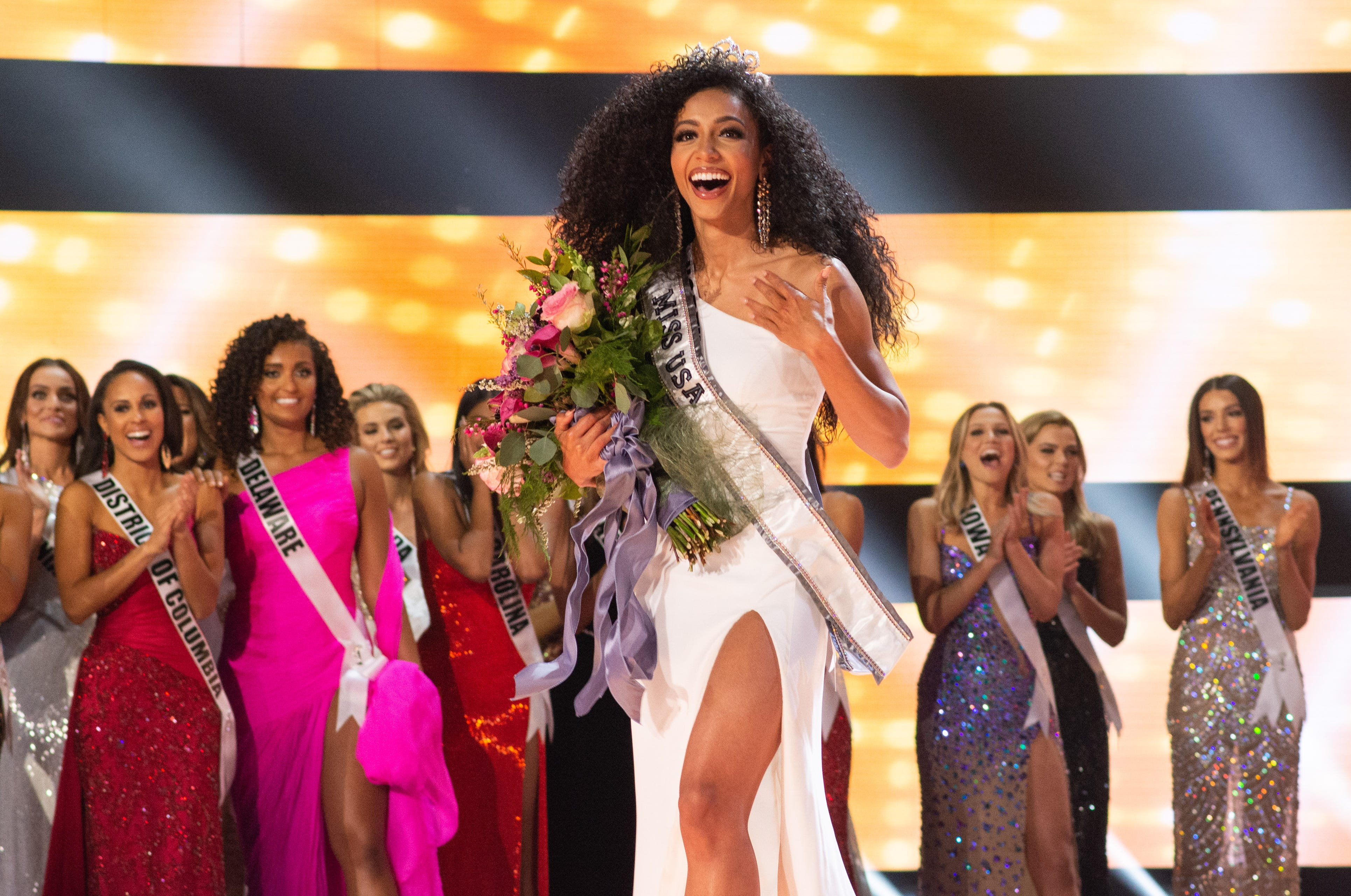 Chelsie Kryst, Miss North Carolina is crowned Miss USA 2019.