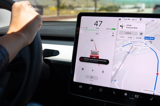 The latest Tesla update includes Emergency Lane Departure Avoidance, which steers the car back into the driving lane if the system detects that it is departing its lane and there could be a collision, or if the car is close to the edge of the road.
