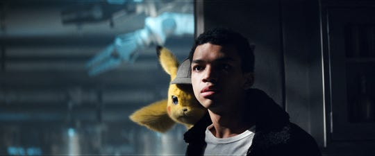 "Ryan Reynolds voices Pikachu, who has a voice only Tim (Justice Smith) can hear in ""Pokemon: Detective Pikachu."""
