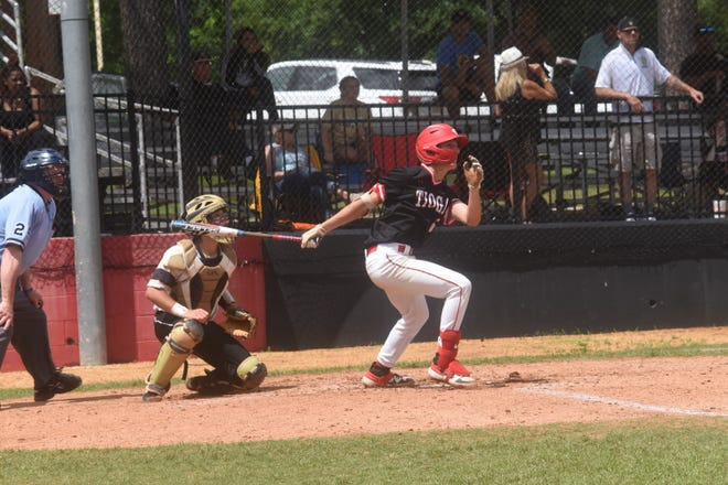 Tioga's Peyton Forester (5) gets a hit as the Indians defeat Salmen High School of Slidell 16-3  in the Class 4A playoff game. Tioga is on their way to the 2019 Allstate Sugar Bowl/LHSAA Baseball State Tournament in Sulphur.