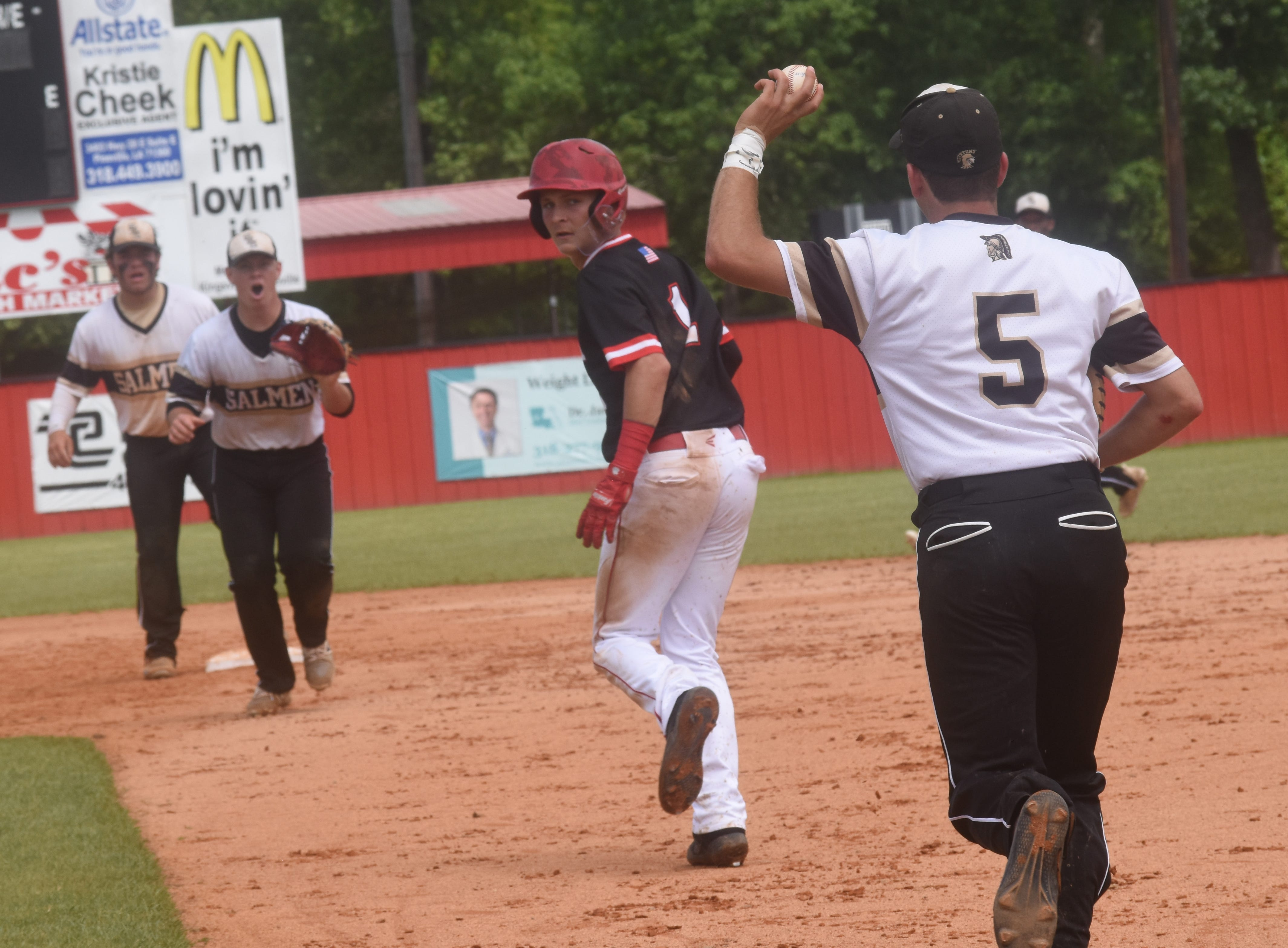Tioga High School defeats Salmen High School of Slidell 16-3  in the Class 4A playoff game. Tioga is on their way to the 2019 Allstate Sugar Bowl/LHSAA Baseball State Tournament in Sulphur.