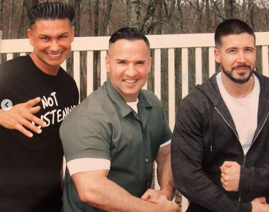 "Pauly ""DJ Pauly D"" DelVecchio, Michael ""The Sitaution"" Sorrentino and Vinny Guadagnino April 19 at FCI Otisville. ,"