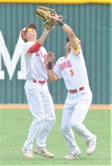 Lubbock Coronado center fielder Cameron Stevenson (3) catches a fly ball to Cooper's Brody Stanford in front of left fielder Cooper Hamilton to end the fifth inning. Coronado beat the Cougars 7-0 to sweep the Region I-5A bi-district playoff series Saturday, May 4, 2019, at McCanlies Field in Odessa.