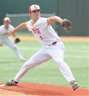Lubbock Coronado pitcher Landry Watson throws a pitch to a Cooper batter in the first inning. Coronado beat the Cougars 7-0 to sweep the Region I-5A bi-district playoff series Saturday, May 4, 2019, at McCanlies Field in Odessa.
