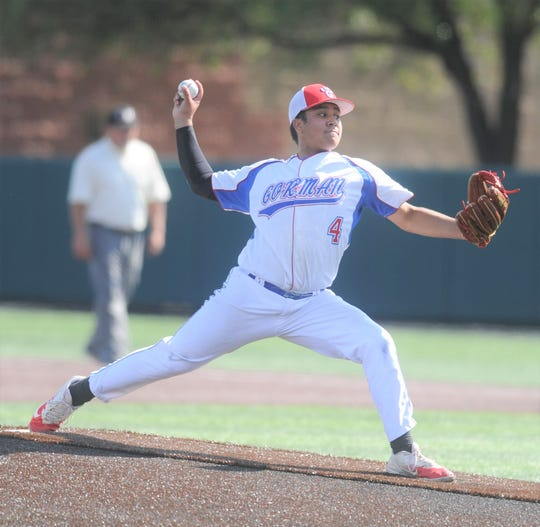 Gorman pitcher Asael Maldonado gets ready to deliver against Hamlin in the first inning of Game 2 of the teams' Region I-1A bi-district baseball series Friday, May 3, 2019, at Abilene Christian's Scott Field.