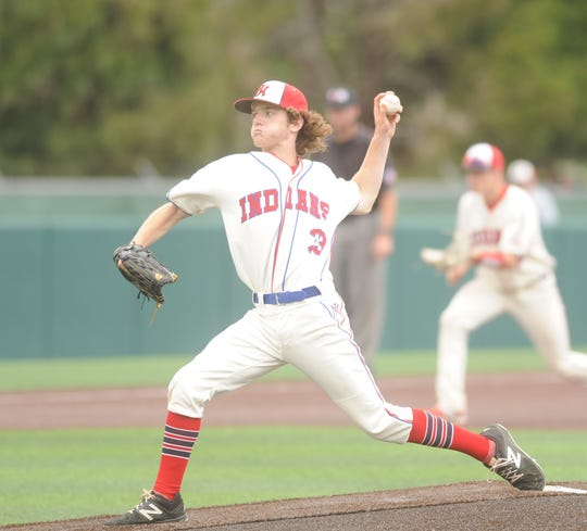 Jim Ned freshman Kade Frazier delivers a pitch against Eastland in Game 3 of their bi-district baseball series on Saturday, May 4, 2019, at Abilene Christian's Scott Field.