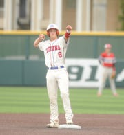 Jim Ned shortstop Tate Yardley gestures towards the Indians dugout after a double to lead off the second inning of Game 3 of a bi-district baseball series against Eastland on Saturday, May 4, 2019, at Abilene Christian's Scott Field.