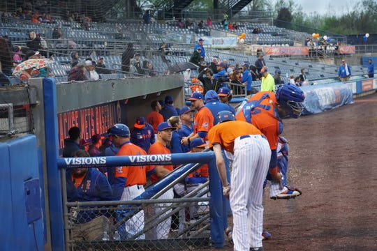 The Syracuse Mets' Tim Tebow looks out of the dugout during Friday's game against Scranton/Wilkes-Barre. Tebow is off to a horrid start.