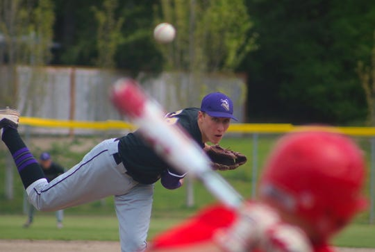 North Kitsap pitcher Logan Chmielewski pitches during Saturday's Class 2A district baseball tournament at Gene Lobe Field at the Fairgrounds.