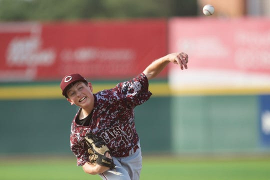 Calallen pitcher Justin Lamkin throws against Carroll during Game 2 of a Class 5A bi-district baseball playoff series at Cabaniss Baseball Field on Friday, May 3, 2019.