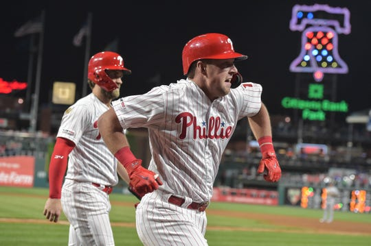 May 3, 2019; Philadelphia, PA, USA; Philadelphia Phillies left fielder Rhys Hoskins (17) celebrates after hitting a three run home run against the Washington Nationals during the sixth inning at Citizens Bank Park. The Phillies won 4-2. Mandatory Credit: John Geliebter-USA TODAY Sports