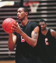 University of Cincinnati's DerMarr Johnson during practice at the Shoemaker Center in 1999.