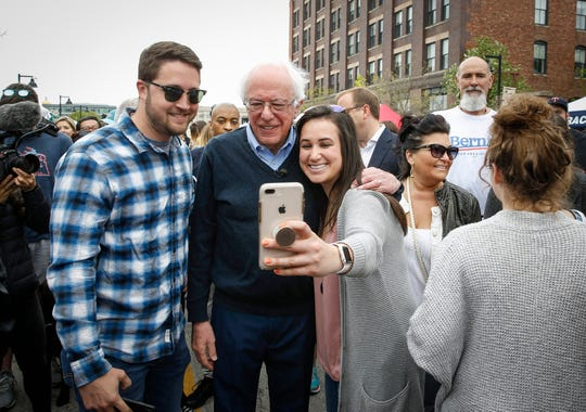 U.S. Sen. Bernie Sanders, a Democratic presidential candidate, made a stop to the Downtown Farmers' Market in Des Moines on Saturday, May 4, 2019, to greet Iowans.
