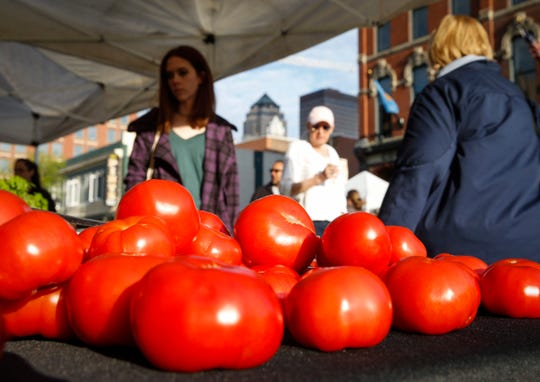 Tomatoes on display during the Downtown Farmers' Market in Des Moines on Saturday, May 4, 2019.