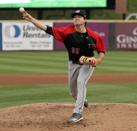 Casey Mize pitches in his Double-A Erie SeaWolves debut April 29, 2019 in Altoona, Pa.