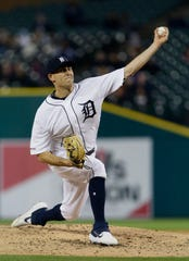 Tigers pitcher Matthew Boyd pitches during the sixth inning of the Tigers' 4-3 win over the Royals on Friday, May 3, 2019, at Comerica Park.