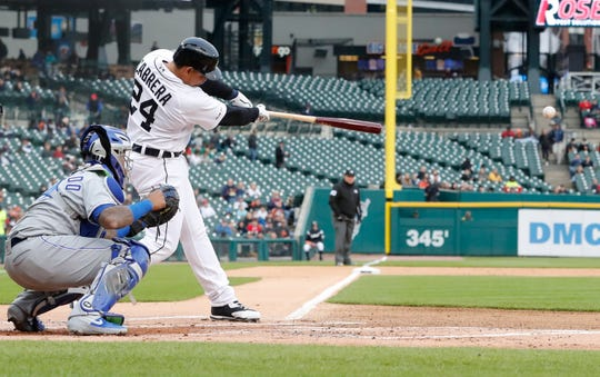 Detroit Tigers' Miguel Cabrera connects for an RBI single to center during the first inning of the team's baseball game against the Kansas City Royals, Friday, May 3, 2019, in Detroit.