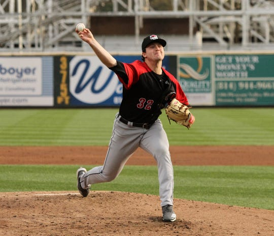 Casey Mize pitches in his Double-A Erie debut April 29, 2019 in Altoona, Pa.