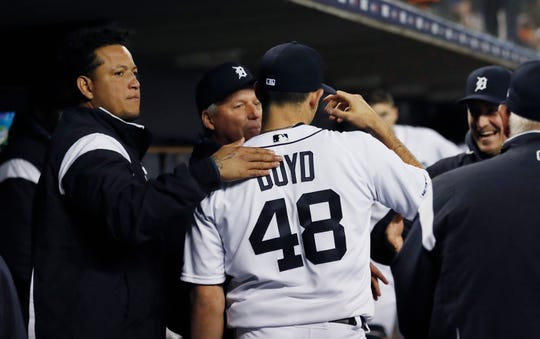 Tigers designated hitter Miguel Cabrera pats starting pitcher Matthew Boyd after the seventh inning of the Tigers' 4-3 win over the Royals on Friday, May 3, 2019, at Comerica Park.