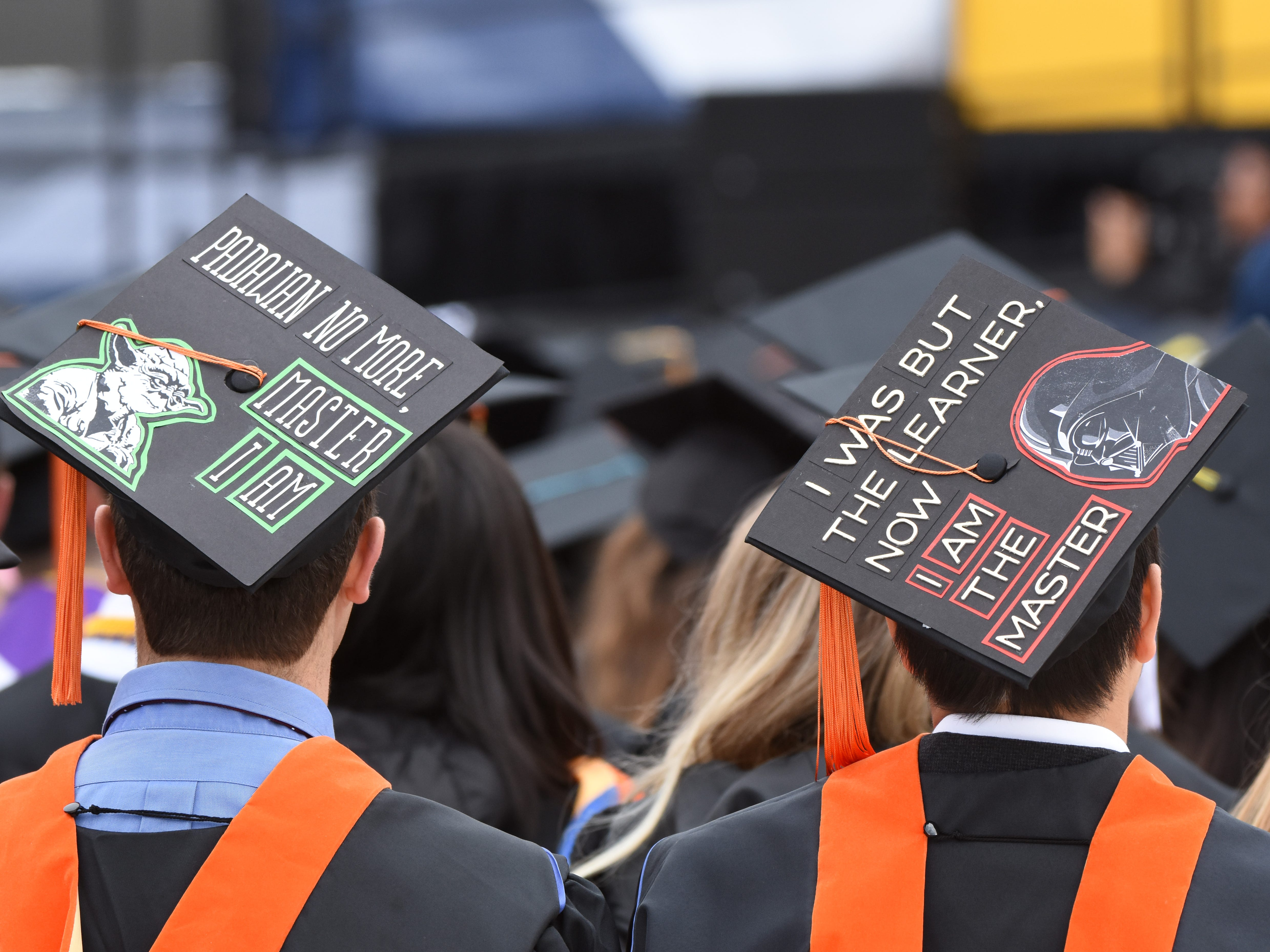 University of Michigan' students decorated their caps in a tribute to Star Wars.