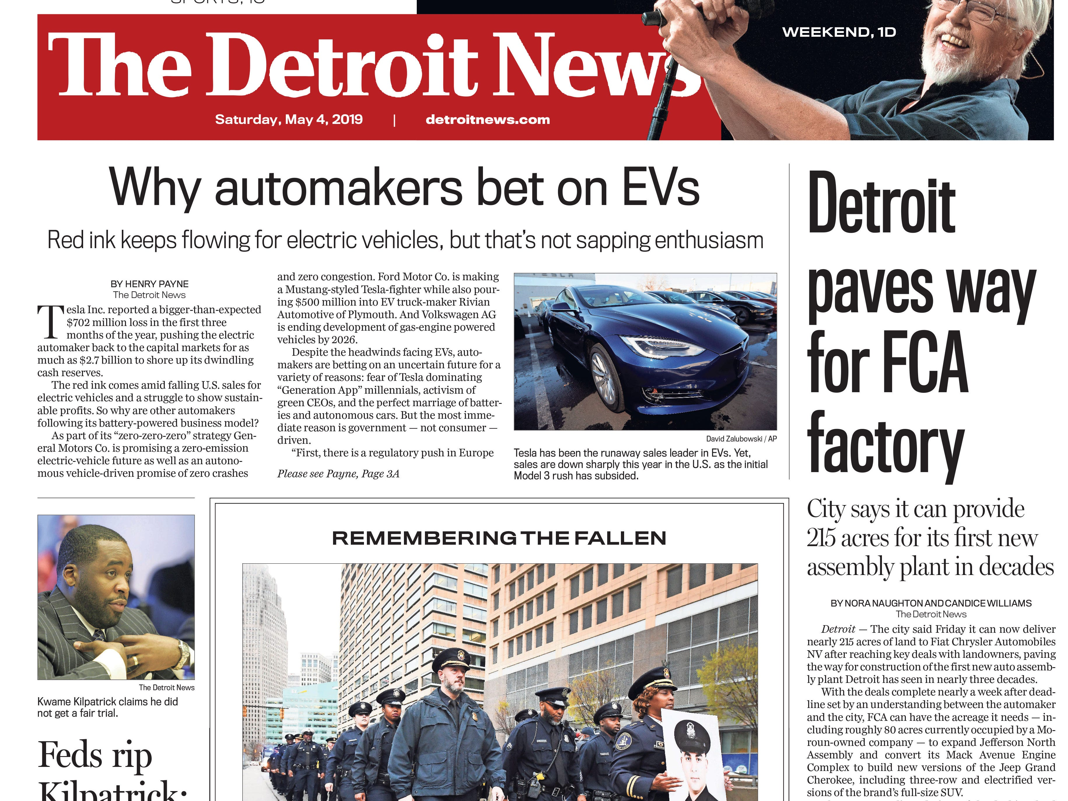 The front page of the Detroit News on Saturday, May 4, 2019.