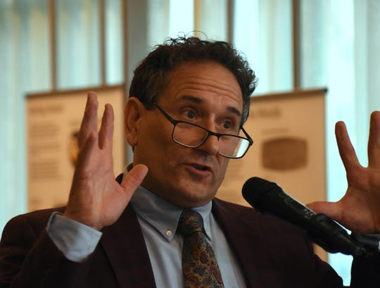 U.S. Rep. Andy Levin, D-District 9, announces a bi-partisan bill he wrote with U.S. Rep. John Moolenaar, R-District 4, that would provide a 2-year period of relief to Iraqi nationals facing deportation during a press conference at the Shenandoah Country Club in West Bloomfield, Michigan on May 3, 2019.  The bill would stave off deportations and allow time for Iraqi nationals' cases to be heard in the courts.