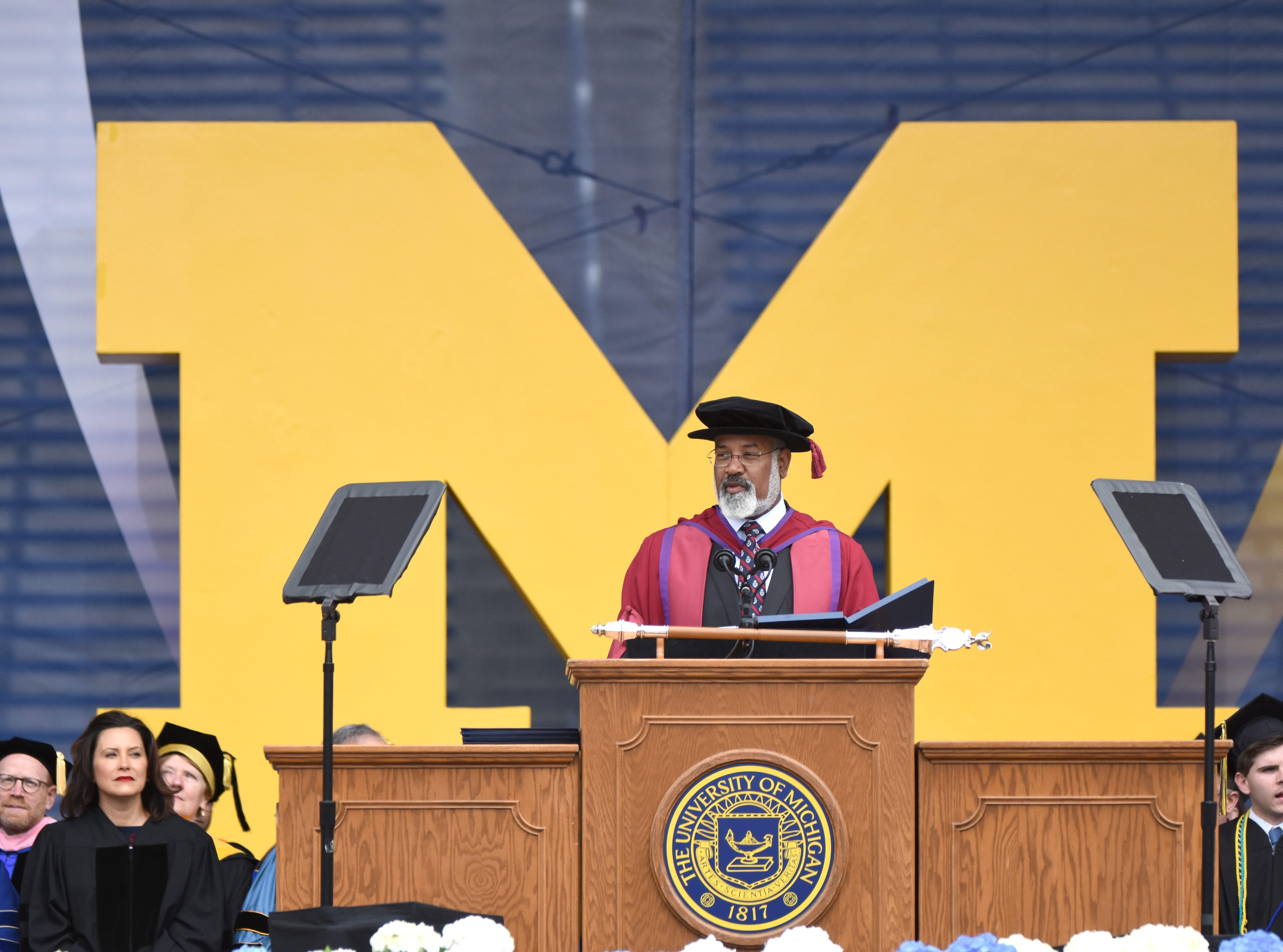 Martin Philbert, University of Michigan, Provost and Executive Vice-President for Academic Affairs, speaks during commencement exercises in Ann Arbor.