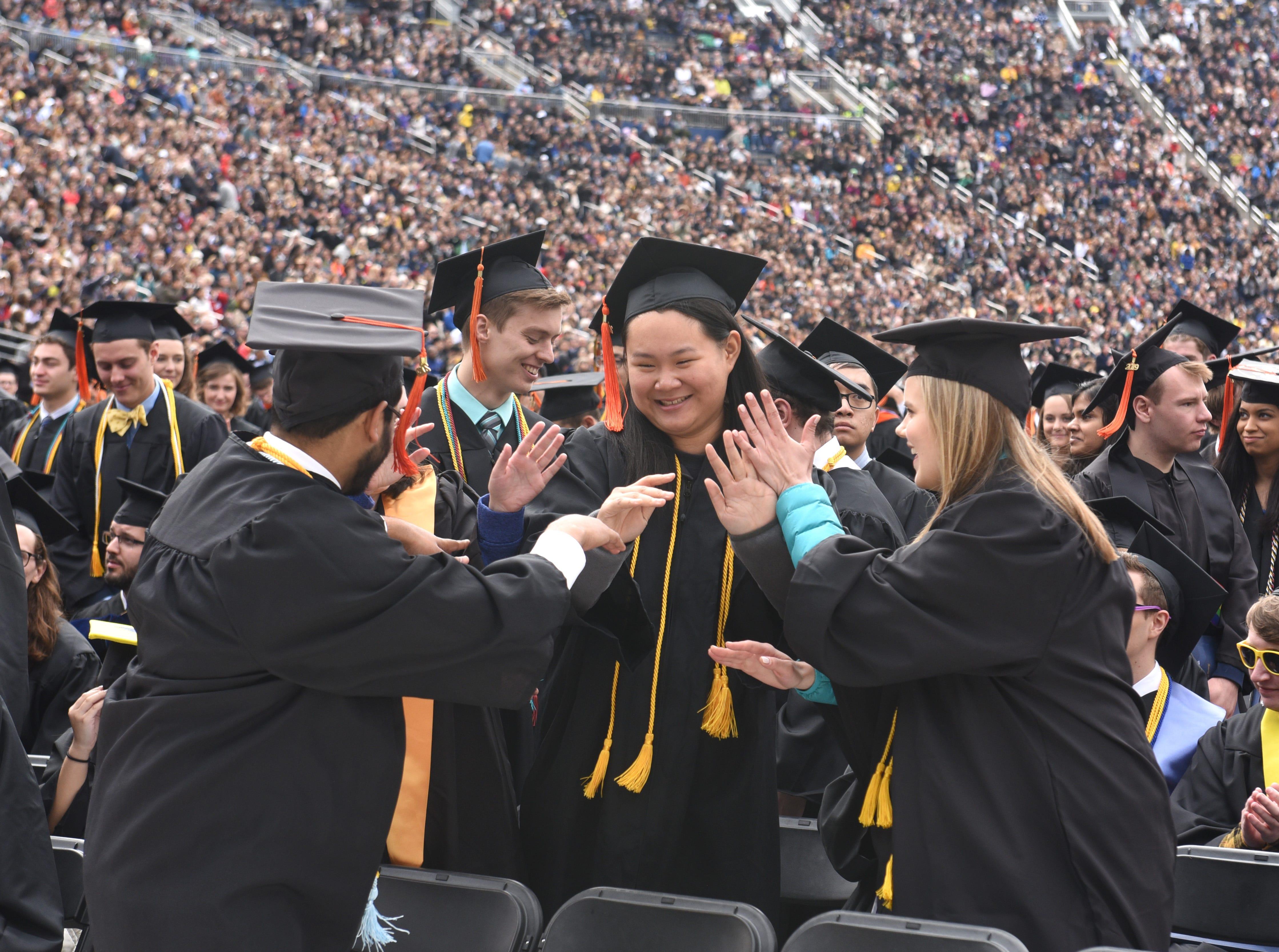 University of Michigan students celebrate.