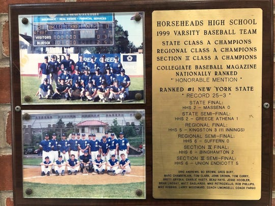 A plaque honoring the 1999 Horseheads baseball state championship team.