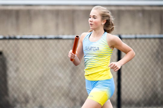 Castle's Shelby Luker runs in the 4x8 during the SIAC boys and girls track finals at Central Stadium Friday, May 3, 2019.