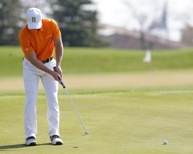 Tyler Cleaves of Kaukauna competes in the Fond du Lac Golf Invite on May 4 at Rolling Meadows Golf Course in Fond du Lac.