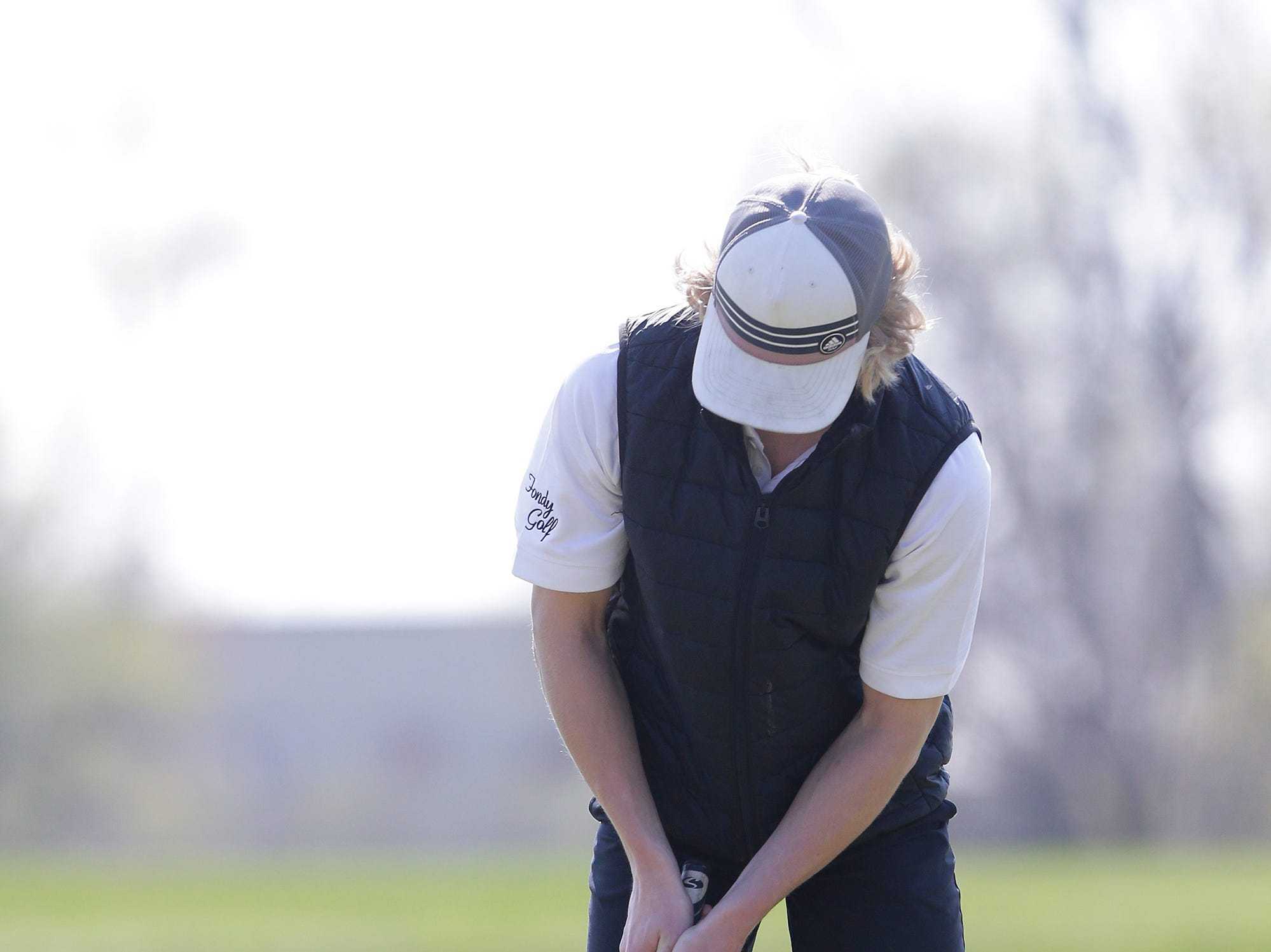 Jonah Duwell of Fond du Lac High School competes in the Fond du Lac High School golf invite Saturday, May 4, 2019 at Rolling Meadows Golf Course in Fond du Lac, Wis. Doug Raflik/USA TODAY NETWORK-Wisconsin