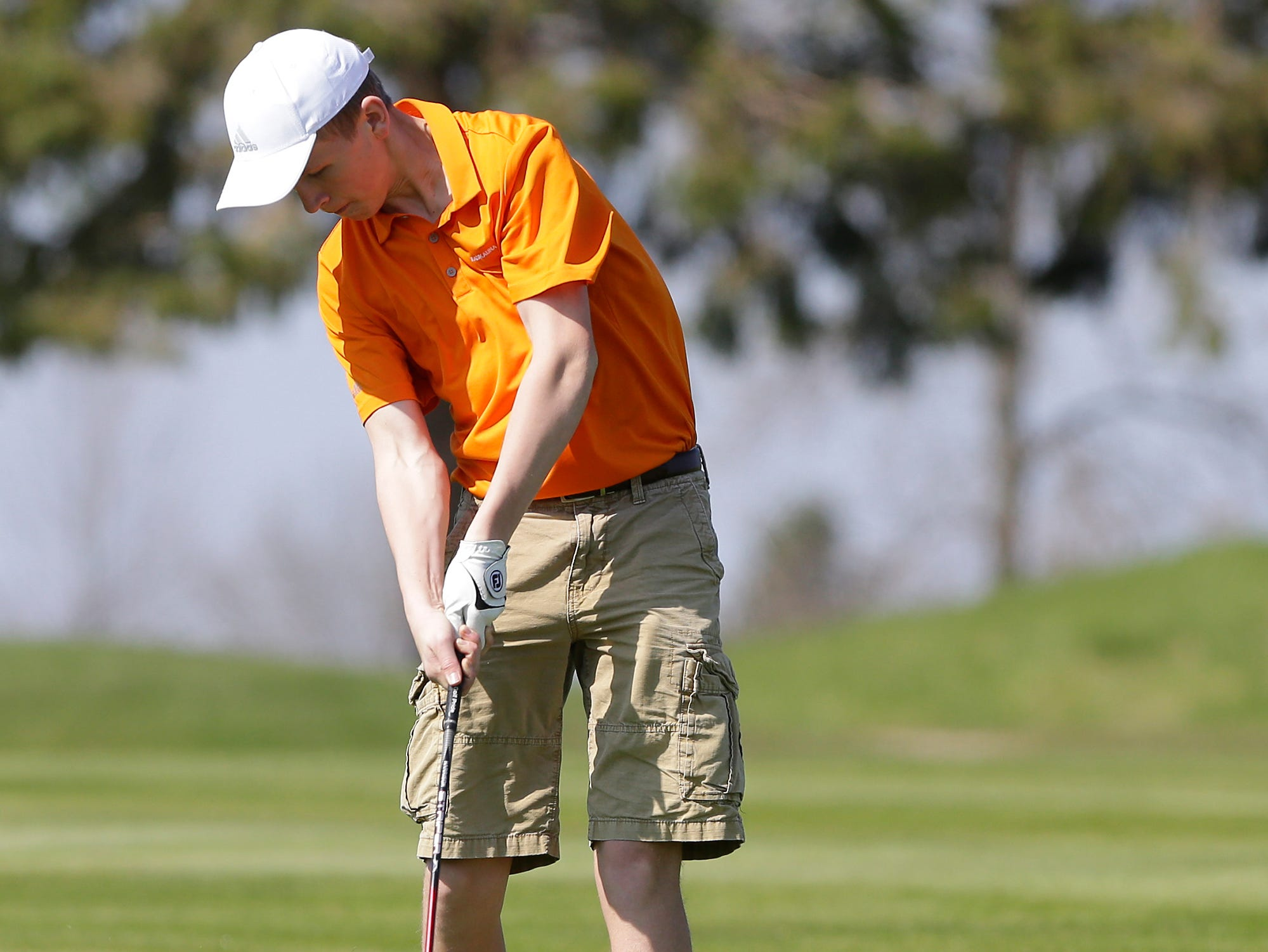 Will Carl of Kaukauna High School competes in the Fond du Lac High School golf invite Saturday, May 4, 2019 at Rolling Meadows Golf Course in Fond du Lac, Wis. Doug Raflik/USA TODAY NETWORK-Wisconsin