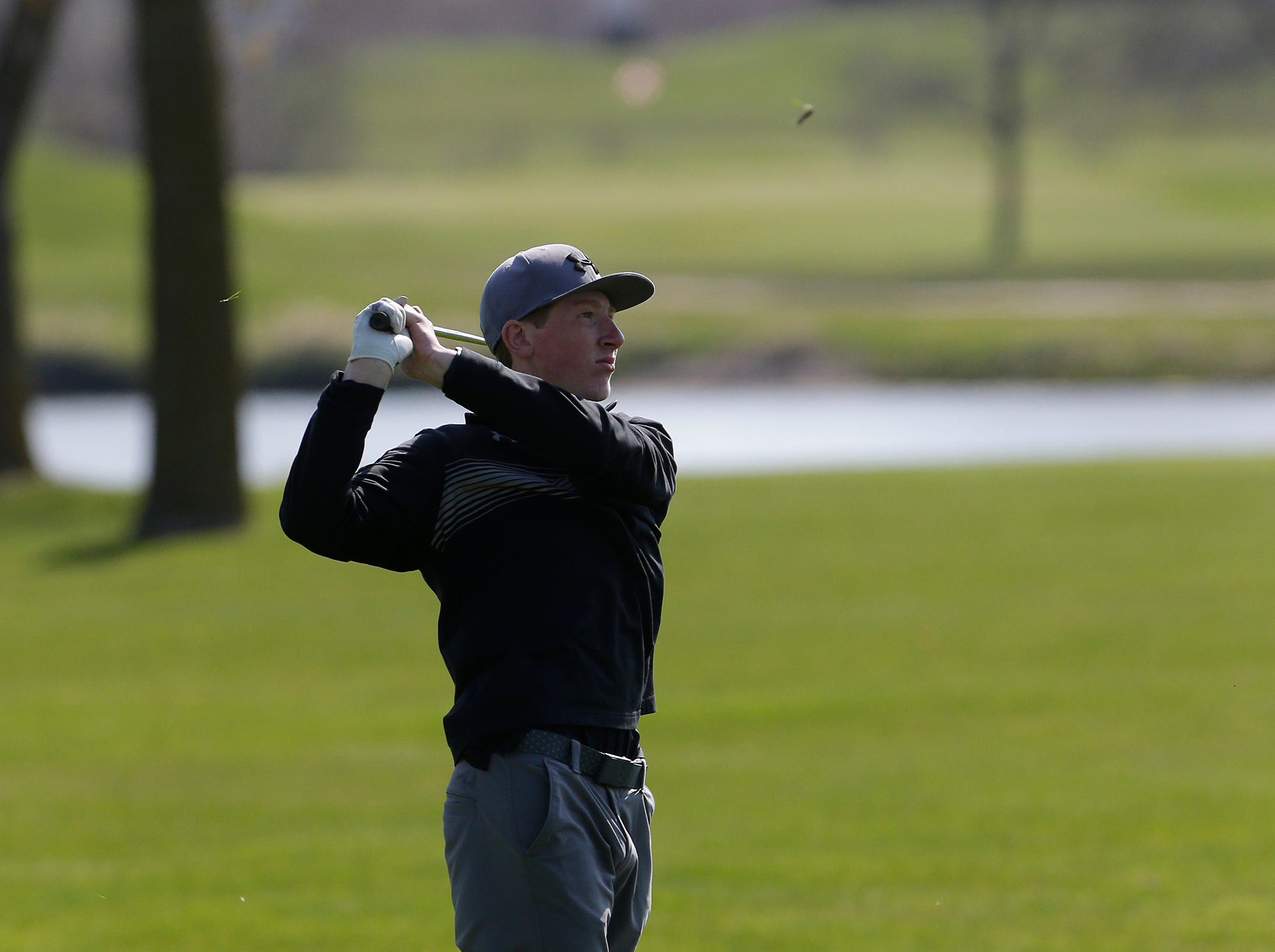 Tyler Selenske of Mosinee High School competes in the Fond du Lac High School golf invite Saturday, May 4, 2019 at Rolling Meadows Golf Course in Fond du Lac, Wis. Doug Raflik/USA TODAY NETWORK-Wisconsin