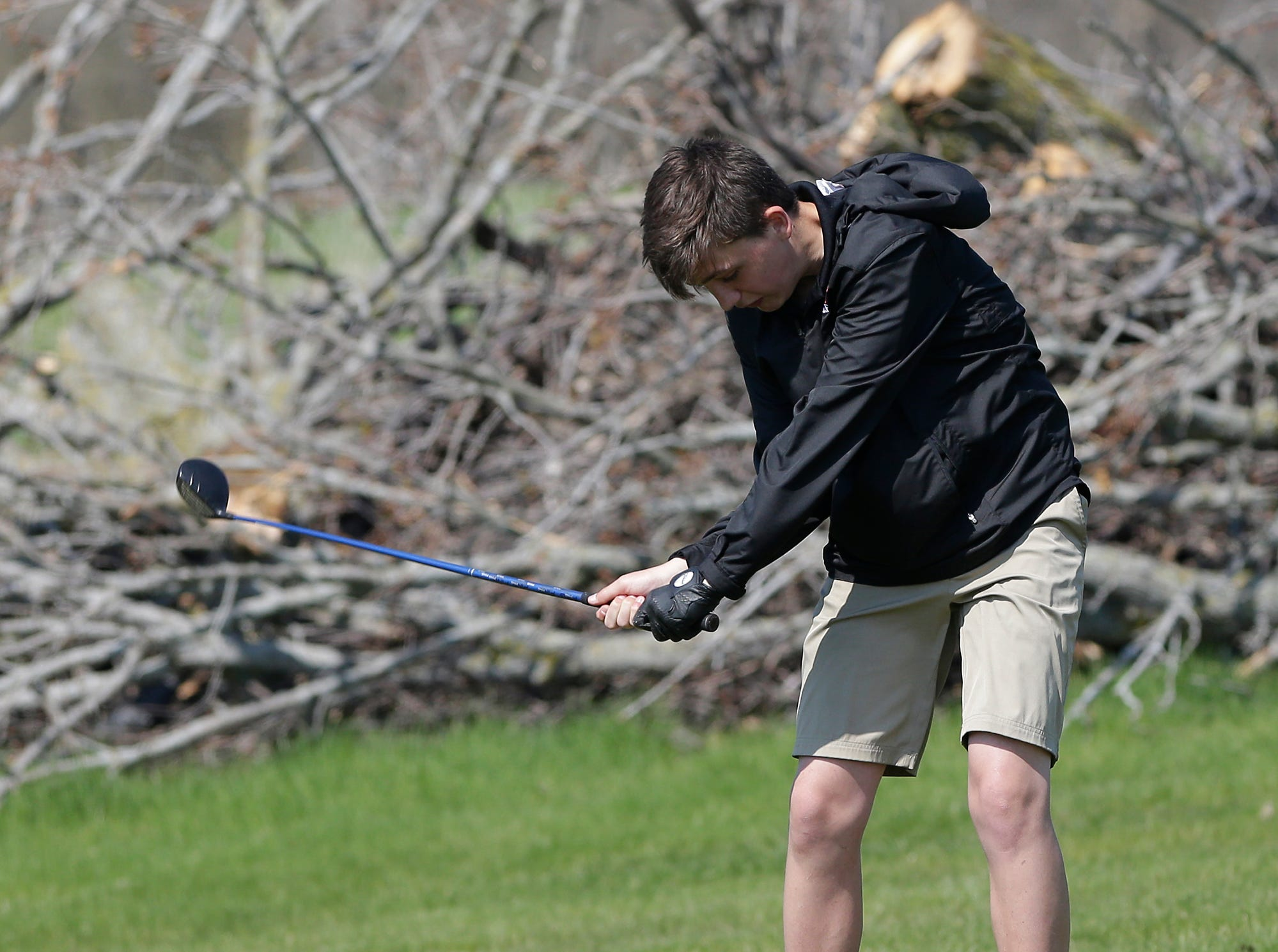 Lucas Burry of Appleton West High School competes in the Fond du Lac High School golf invite Saturday, May 4, 2019 at Rolling Meadows Golf Course in Fond du Lac, Wis. Doug Raflik/USA TODAY NETWORK-Wisconsin