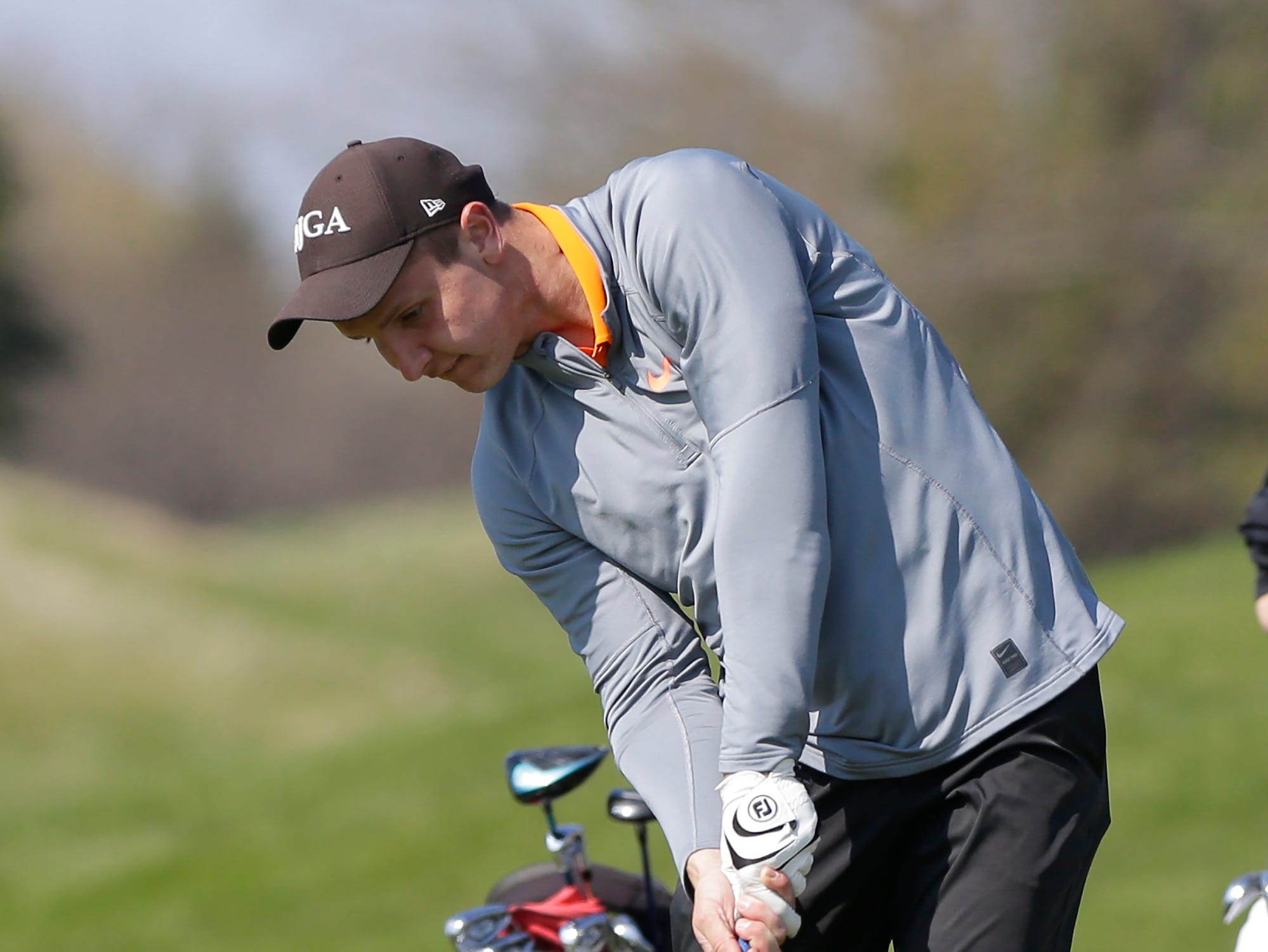 Brock Hilnak of Kaukauna High School competes in the Fond du Lac High School golf invite Saturday, May 4, 2019 at Rolling Meadows Golf Course in Fond du Lac, Wis. Doug Raflik/USA TODAY NETWORK-Wisconsin